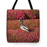 Mallard On A Floral Carpet Tote Bag