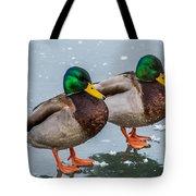 Mallards On Ice Tote Bag