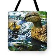 Mama And Chick Tote Bag