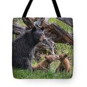 Mama Black Bear With Cinnamon Cubs Tote Bag