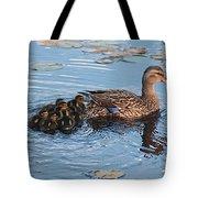 Mama Mallard And Her Ducklings Tote Bag