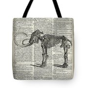 Mammoth Elephant Bones Over A Antique Dictionary Book Page Tote Bag