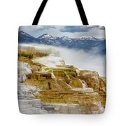 Mammoth Hot Springs In Yellowstone National Park, Wyoming. Tote Bag