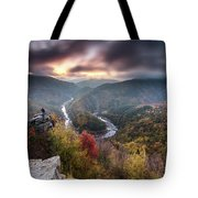 Man Above A River Meander Tote Bag
