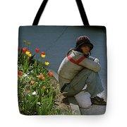 Man Alone Sitting On Curb Tote Bag
