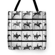 Man And Horse Jumping Tote Bag