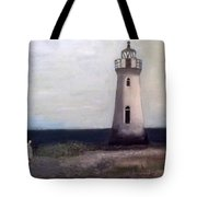 Man And Lighthouse Tote Bag