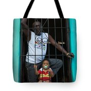 Man And Son In The Window Tote Bag