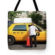 Man Asks For Information A Taxi Driver In Manhattan. Tote Bag