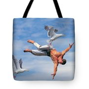 Man Being Carried By Bird Tote Bag