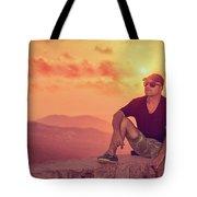Man Enjoying Sunset Tote Bag