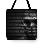 Man Face Blended With Flowing List Of Motivational Words Tote Bag