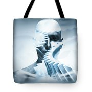 Man Face With Mechanical Cogwheel Overlay. Tote Bag