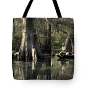 Man Fishing In Cypress Swamp Tote Bag