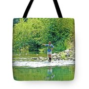 Man Fly Fishing In Canyon Creek Near Winters-california Tote Bag