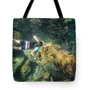 Man Free Diving Tote Bag