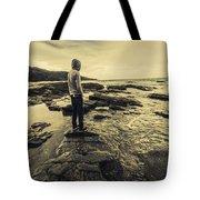 Man Gazing Out On Coastal Rocks Tote Bag