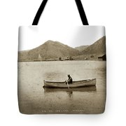Man In A Row Boat Named Lizzie On Palmer Lake On The Colorado Di Tote Bag