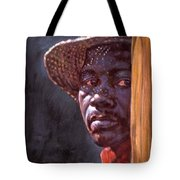 Man In Straw Hat Tote Bag