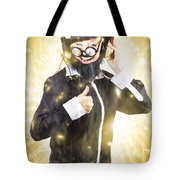 Man Listening To Fm Radio Broadcast With Headphone Tote Bag