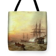 Man-o-war Firing A Salute At Sunset Tote Bag by Claude T Stanfield Moore