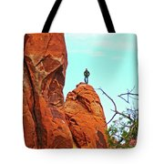 Man On A Rock By Pine Tree Arch Along Devil's Garden Trail In Arches  National Park, Utah Tote Bag