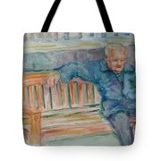 Man On Bench Tote Bag