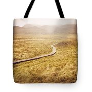 Man On Expedition Along Cradle Mountain Boardwalk Tote Bag