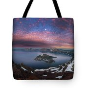 Man On Hilltop Viewing Crater Lake With Full Moon Tote Bag
