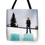Man On Ice Tote Bag