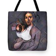 Man Painting Woman Tote Bag