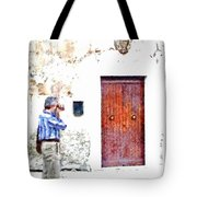 Man Photographing Tote Bag