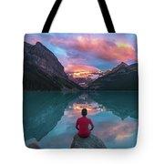 Man Sit On Rock Watching Lake Louise Morning Clouds With Reflect Tote Bag