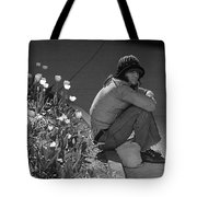 Man Sitting Along Curb  Tote Bag