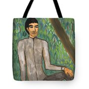 Man Sitting Under Willow Tree Tote Bag