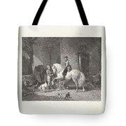 Man Te Paard In Een Stal Tote Bag