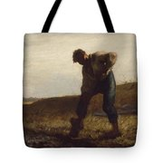 Man Turning Over The Soil Tote Bag