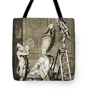 Man Using Sextant On Womans Coiffure Tote Bag