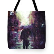 Man Walking Under Umbrella Tote Bag