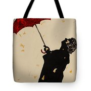 Man With Red Umbrella    Tote Bag