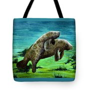Manatee Mother And Young Tote Bag