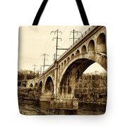 Manayunk Bridge Across The Schuylkill River In Sepia Tote Bag