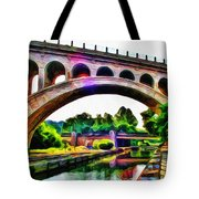 Manayunk Canal And Bridge Tote Bag by Bill Cannon