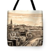 Manayunk In March - Canal View In Sepia Tote Bag