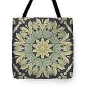 Mandala Leaves In Pale Blue, Green And Ochra Tote Bag