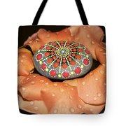 Mandala Stone In Rose Petals Tote Bag