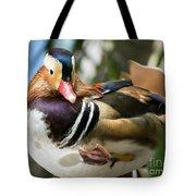 Mandarin Duck Raising One Foot. Tote Bag
