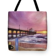 Manhattan Beach Pier Tote Bag
