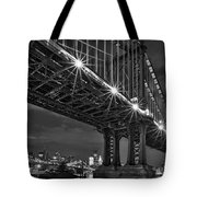 Manhattan Bridge Frames The Brooklyn Bridge Tote Bag by Susan Candelario