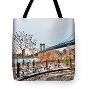 Manhattan Bridge From Brooklyn Bridge Park Tote Bag